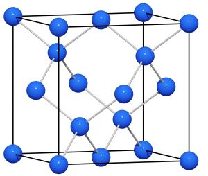 Aniontová mřížka NaTl. Zdroj: https://commons.wikimedia.org/wiki/File:Zintl_NaTl.png