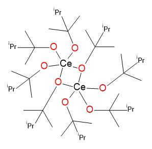 Příklad alkoxidu ceru  [Ce(OCMe2-i-Pr)4]2