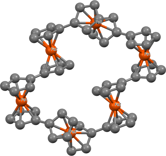 Struktura cyklického hexameru ferrocenu