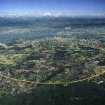 Letecký pohled na CERN, LHC vyznačen žlutou čarou