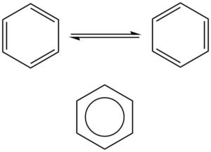 Mezomerní struktury benzenu a jeho strukturní vzorec